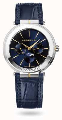 Michel Herbelin Newport slim moonphase horloge met leren band 12722/T15BL