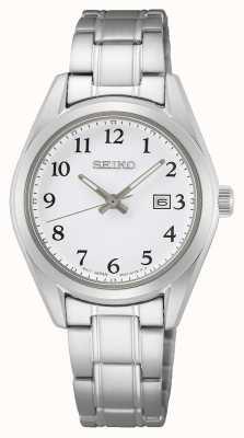 Seiko Dames armband van roestvrij staal met witte wijzerplaat SUR465P1