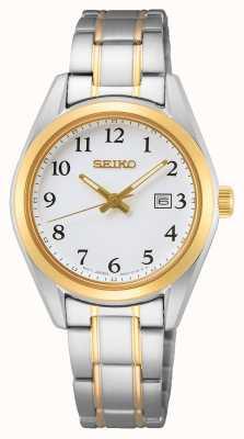 Seiko Dames witte wijzerplaat geelgouden roestvrijstalen armband SUR466P1