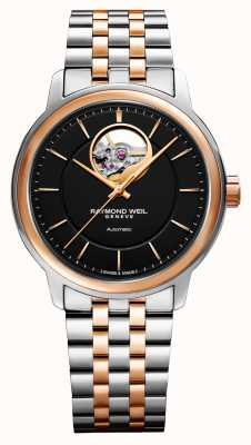 Raymond Weil Maestro heren tweekleurig horloge met zwarte wijzerplaat 2227-SP5-20021