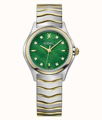 EBEL Wave tweekleurige diamanten set voor dames groen parelmoer 1216440