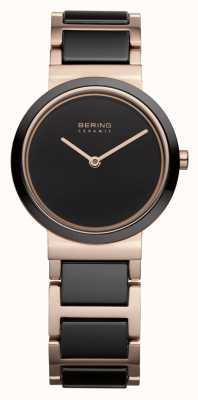 Bering Dames   gepolijst roségoud   zwarte en rosé gouden armband 10729-746