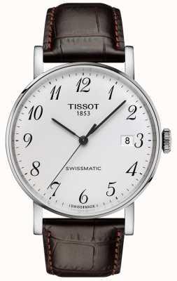 Tissot   heren   altijd zwitsers   automatisch   bruine leren band   T1094071603200