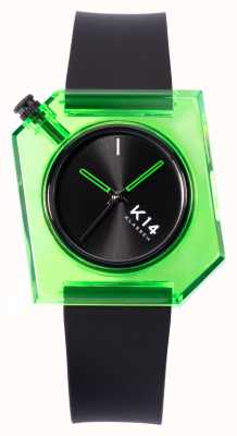 Klasse14 K14 groene avo 40 mm zwarte siliconen band WKF19GN001M