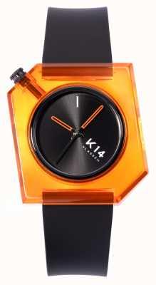 Klasse14 K14 denk oranje 40 mm zwarte siliconen band WKF19OE001M