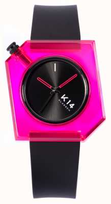 Klasse14 K14 roze pop 40 mm zwarte siliconen band WKF19PK001M
