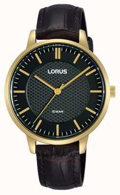Lorus Dames quartz zwarte wijzerplaat bruine leren band RG276TX9