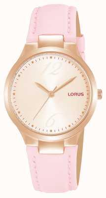 Lorus Roségouden sunray-wijzerplaat voor dames, roze leren band RG210UX9