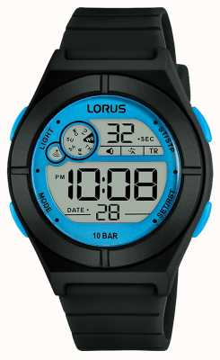 Lorus Dames digitaal horloge zwarte siliconen band blauwe details R2361NX9