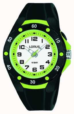 Lorus Zwarte siliconen band voor kinderen, groene binnenring R2375NX9