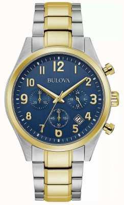 Bulova chronograaf | blauwe wijzerplaat | tweekleurige stalen armband 98B346