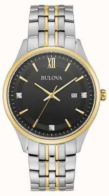 Bulova Heren | zwarte wijzerplaat | tweekleurige roestvrijstalen armband 98D160
