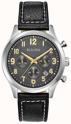 Bulova Chronograaf zwarte leren band zwarte wijzerplaat 96B302