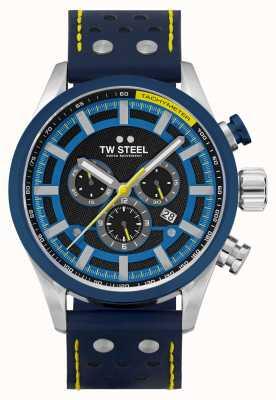 TW Steel Volante fastlane blauwe leren band SVS208
