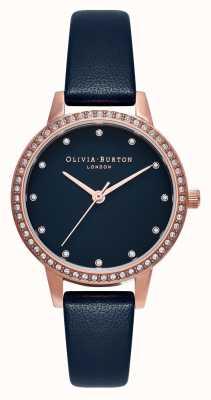 Olivia Burton Midi-navy parelmoer fonkelende lunette, roségoud en marineblauw horloge OB16MD99