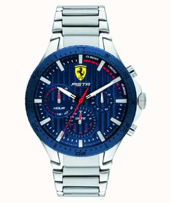 Scuderia Ferrari | pista dubbele baan | blauwe getextureerde wijzerplaat | 0830855