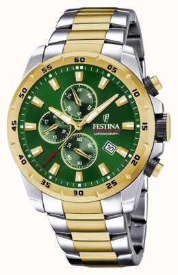Festina Heren chronograaf horloge met groene wijzerplaat F20562/3