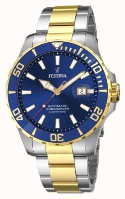 Festina Automatisch 44 mm herenhorloge met blauwe wijzerplaat F20532/1