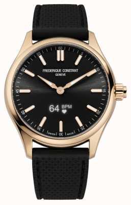 Frederique Constant Vitality smartwatch voor heren zwarte wijzerplaat zwart rubber FC-287BS5B4