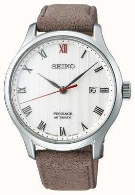 Seiko Presage Zen Garden horloge met bruine leren band SRPG25J1