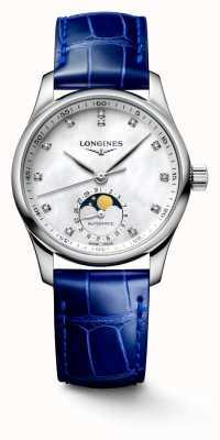 Longines Master collection blauwe leren damesband L24094870
