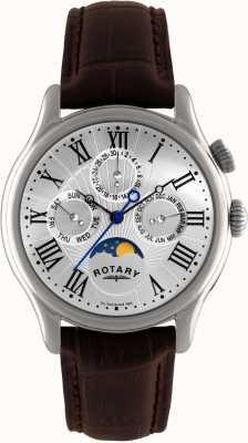 Rotary Heren RVS maanstand bruin leer GS02838/01
