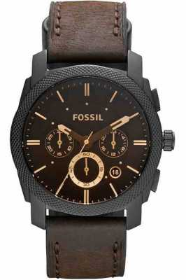 Fossil Mens machine chronograaf bruine horloge FS4656