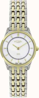 Rotary Vrouwen twee-tone ultra-slanke armband horloge LB08001/02