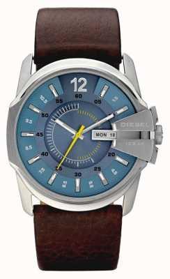 Diesel Mens blauw bruine wijzerplaat lederen band horloge DZ1399